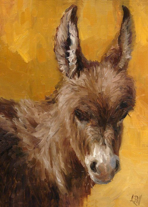 Donkey Greeting Card featuring the painting Marcie by Lilli Pell