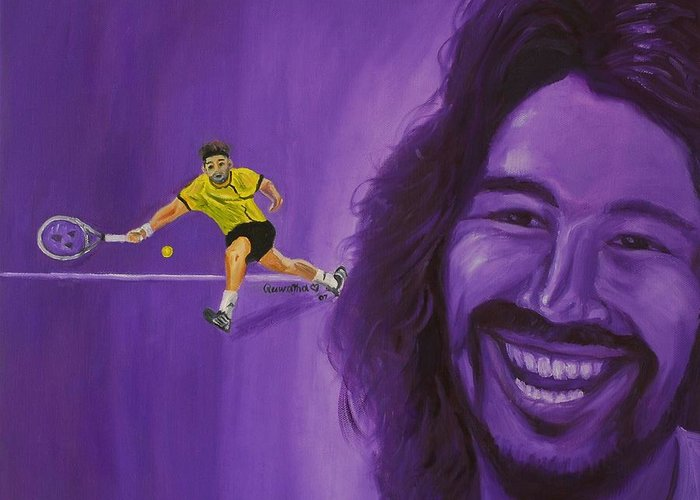 Marcos Greeting Card featuring the painting Marcos Baghdatis by Quwatha Valentine