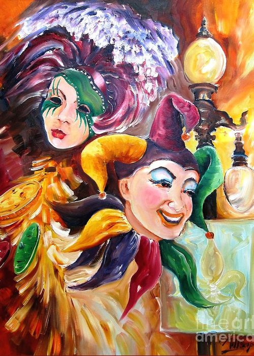 New Orleans Greeting Card featuring the painting Mardi Gras Images by Diane Millsap