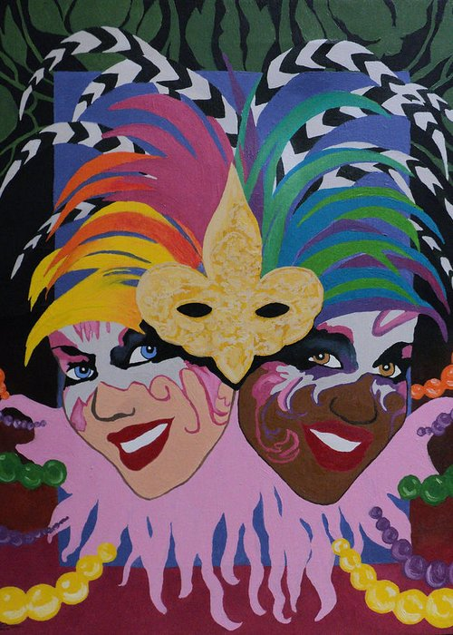 Expressionism Greeting Card featuring the painting Mardi Gras In Colour by Angelo Thomas