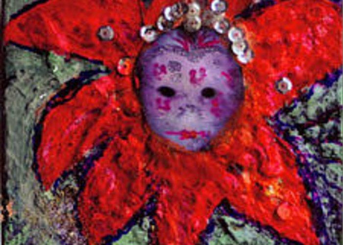 Mardi Gras Greeting Card featuring the mixed media Mardi Gras Mask by Anne-Elizabeth Whiteway