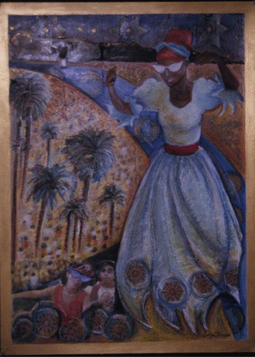 Haiti Greeting Card featuring the painting Mardi Gras Megillah by Barbara Nesin