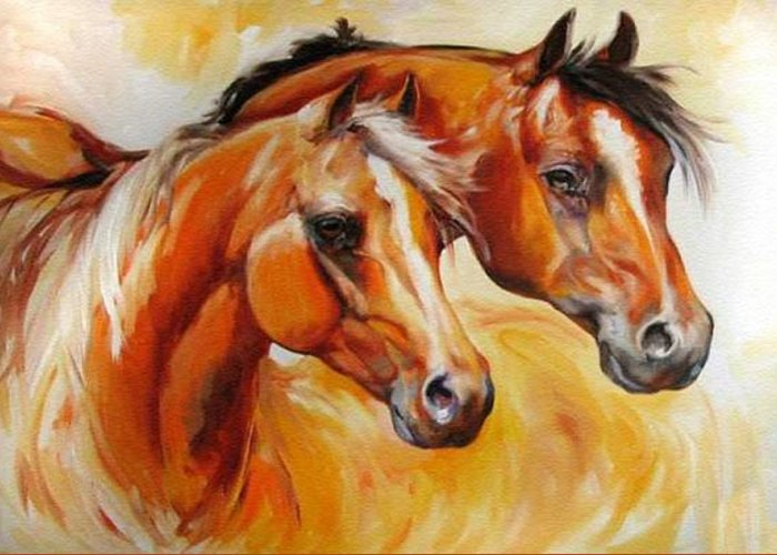 Equine Greeting Card featuring the painting Mare And Stallion By M Baldwin Sold by Marcia Baldwin