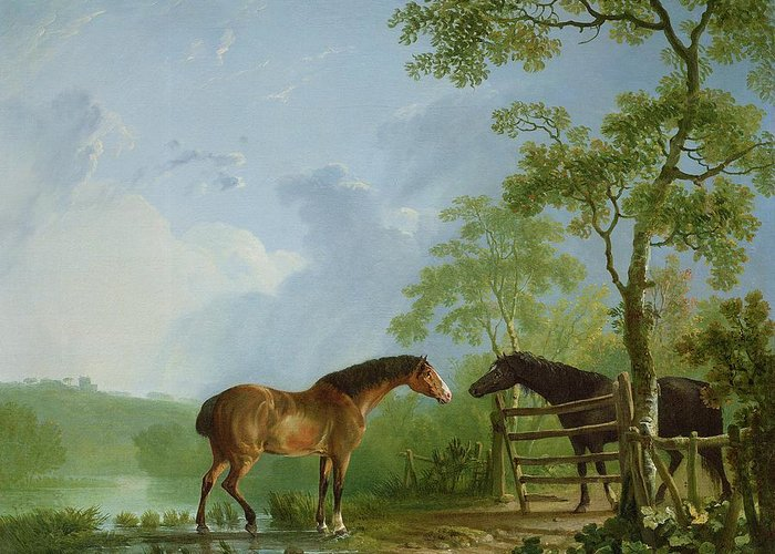 Mare Greeting Card featuring the painting Mare And Stallion In A Landscape by Sawrey Gilpin