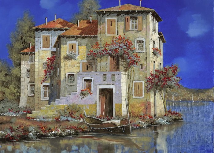 Landscape Greeting Card featuring the painting Mareblu' by Guido Borelli