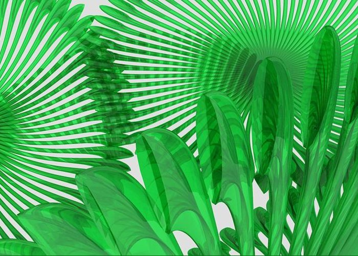 Fondo De Escritorio Greeting Card featuring the digital art Margaritas Verdes by Javier Herrera