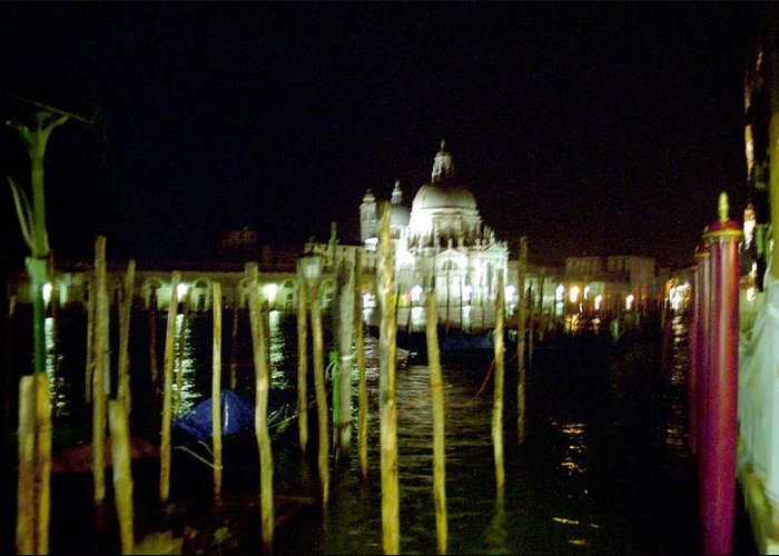 Venice Greeting Card featuring the photograph Maria Della Salute In Venice At Night by Michael Henderson