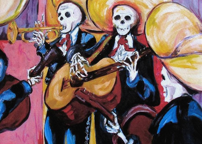 Mariachi Greeting Card featuring the painting Mariachi IIi by Sharon Sieben