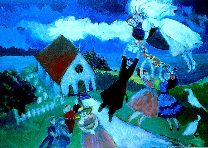 Greeting Card featuring the painting Mariage En Campagne by Anne Marie Bourgeois