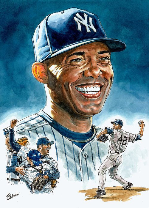 Mariano Rivera Greeting Card featuring the painting Mariano by Tom Hedderich