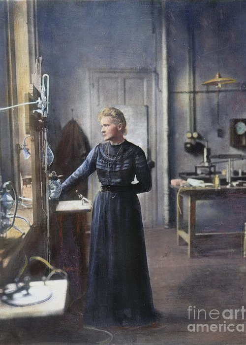 1908 Greeting Card featuring the photograph Marie Curie (1867-1934) by Granger