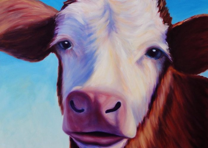 Cow Greeting Card featuring the painting Marie by Shannon Grissom