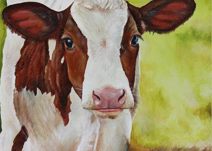 Cow Greeting Card featuring the painting Marigold by Laura Carey