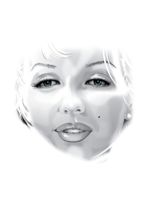 Marilyn Munroe Greeting Card featuring the drawing Marilyn by Brian Gibbs