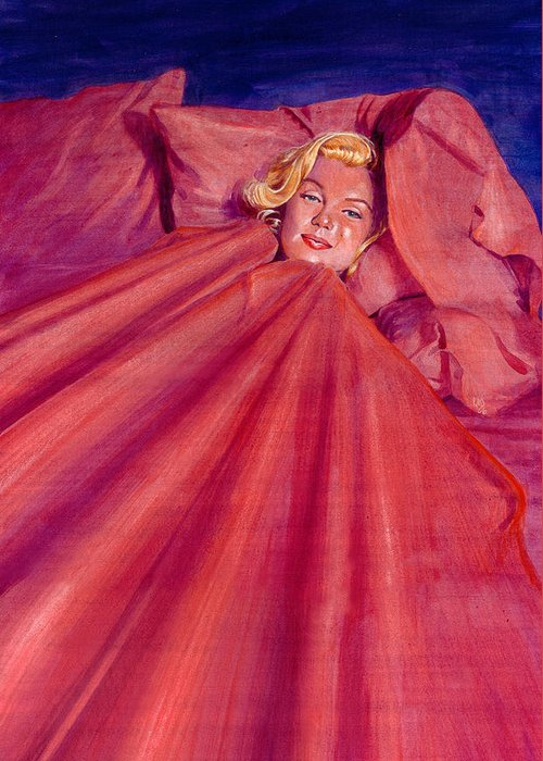 Marilyn Monroe Greeting Card featuring the painting Marilyn In Bed by Ken Meyer
