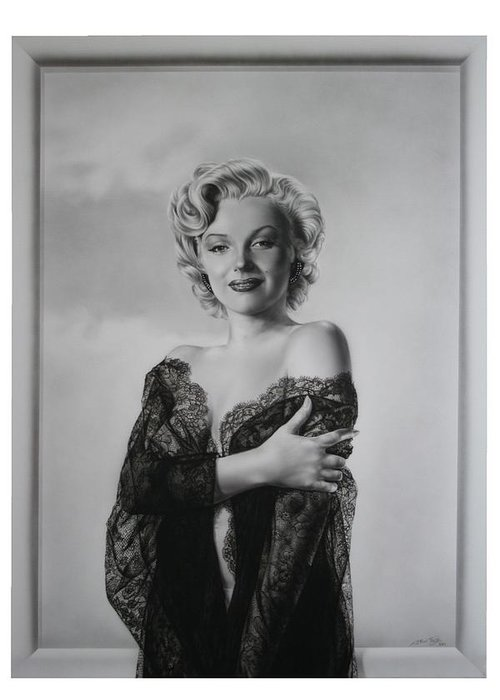 Marilyn Greeting Card featuring the painting Marilyn In Lace by Terry Stephens
