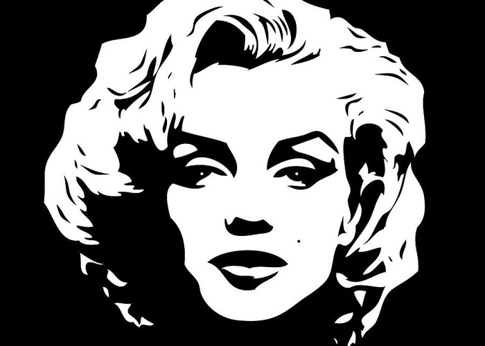 marilyn monroe black and white pop art greeting card for sale by