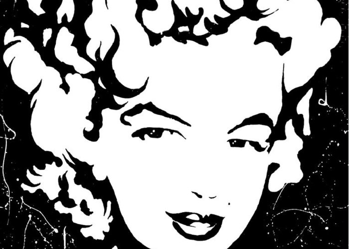 Portrait Greeting Card featuring the painting Marilyn Monroe by Curtiss Shaffer
