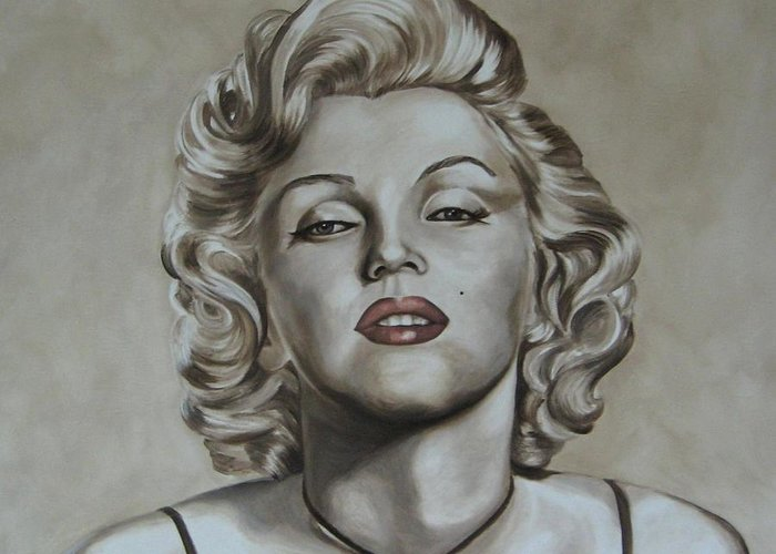 Oil Greeting Card featuring the painting Marilyn Monroe by Jindra Noewi