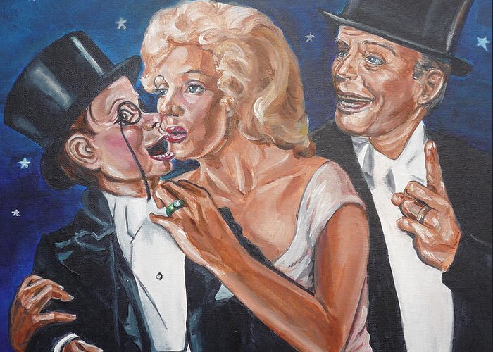 Old Time Radio Greeting Card featuring the painting Marilyn Monroe Marries Charlie Mccarthy by Bryan Bustard
