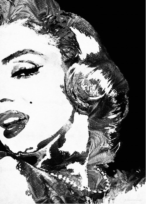 Marilyn Greeting Card featuring the painting Marilyn Monroe Painting - Bombshell Black And White - By Sharon Cummings by Sharon Cummings