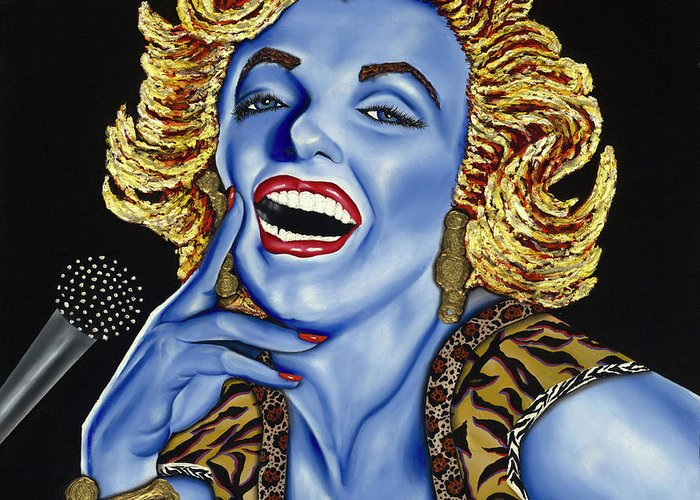 Portrait Greeting Card featuring the painting Marilyn by Nannette Harris