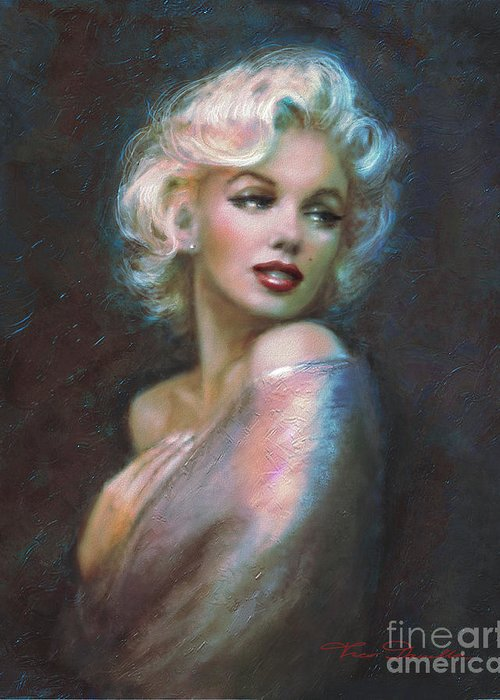 Marilyn Greeting Card featuring the painting Marilyn Romantic Ww Dark Blue by Theo Danella