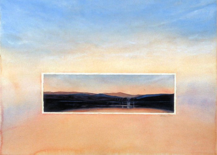Sunset Greeting Card featuring the painting Marin Sunset by Nancy Ethiel