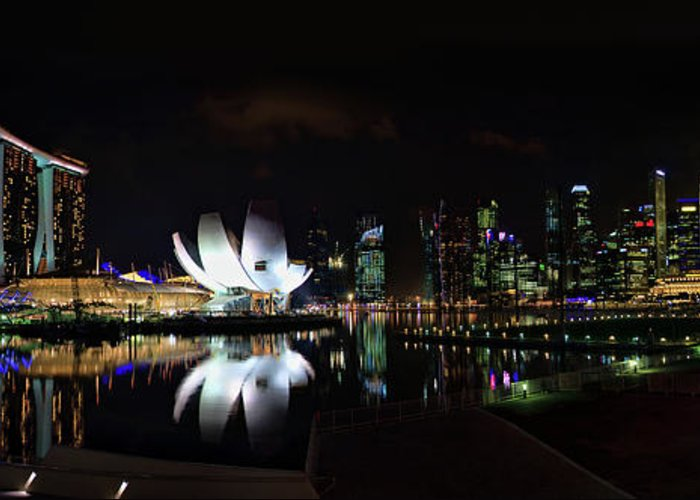 Asia Greeting Card featuring the photograph Marina Bay Sands by Joerg Lingnau