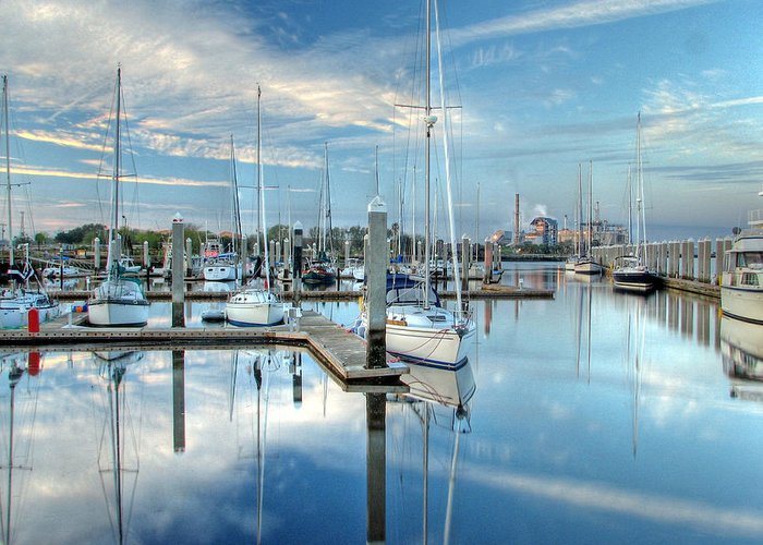 Fernandina Greeting Card featuring the photograph Marina Sunrise by Farol Tomson