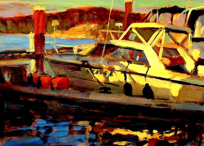 Boat Paintings Greeting Card featuring the painting Marina Sunset by Brian Simons