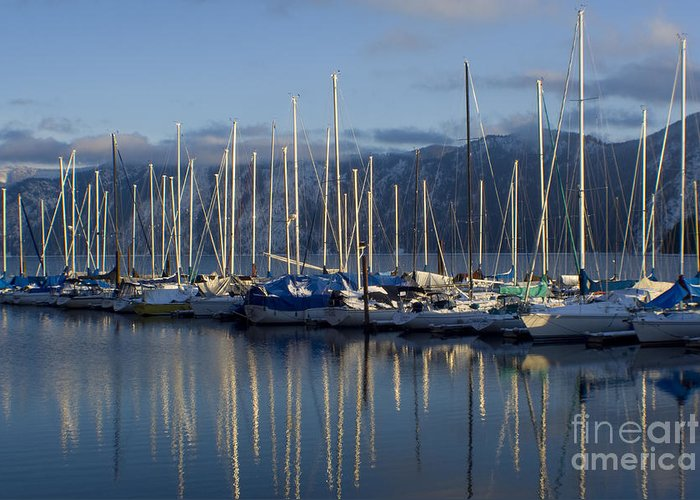 Calm Greeting Card featuring the photograph Marina Tranquility by Idaho Scenic Images Linda Lantzy
