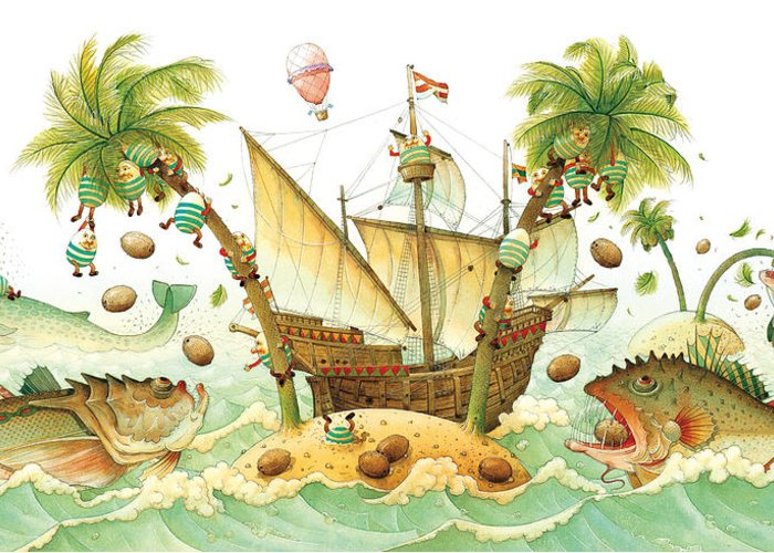 Eggs Easter Marine Greeting Card featuring the painting Marine Eggs by Kestutis Kasparavicius