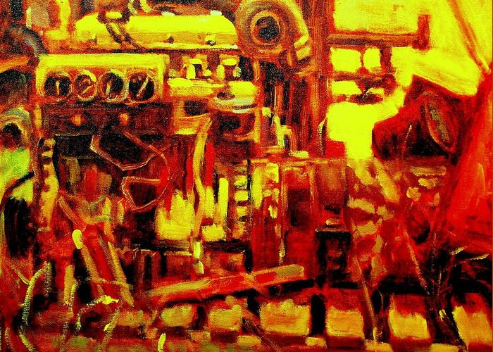 Boat Paintings Greeting Card featuring the painting Marine Engine by Brian Simons