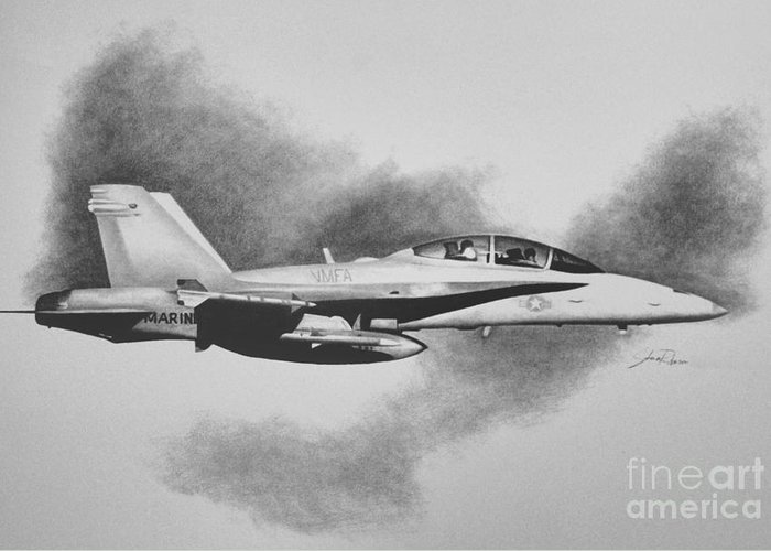 F-18 Drawings Greeting Cards