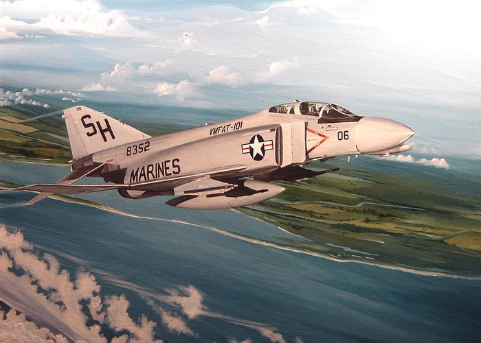 Aviation Greeting Card featuring the painting Marine Phantom by Marc Stewart