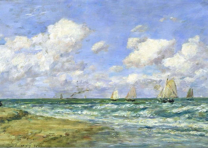 Marine Greeting Card featuring the painting Marine Scene by Eugene Louis Boudin
