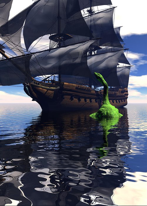 Bryce 3d Scifi sea Dragon Fantasy tall Ship Windjammer \sailing Ship\ Sailing Greeting Card featuring the digital art Mariner's Nightmare by Claude McCoy
