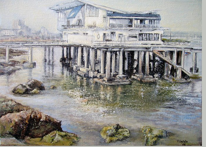 Maritim Greeting Card featuring the painting Maritim Club Castro Urdiales by Tomas Castano