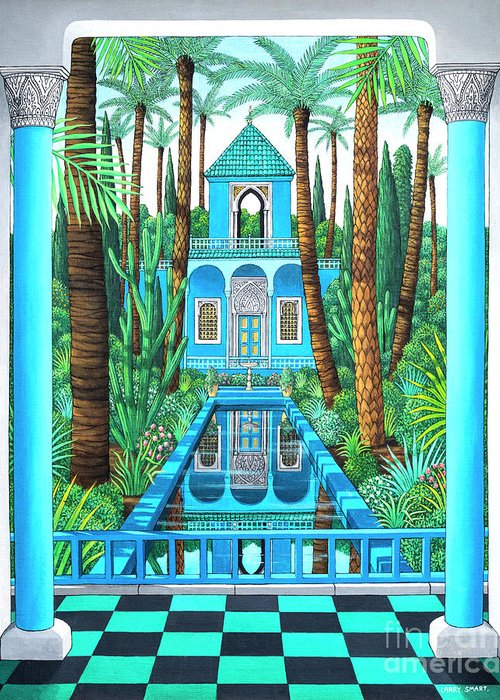 Moorish Greeting Card featuring the painting Marjorelle Reflections by Larry Smart