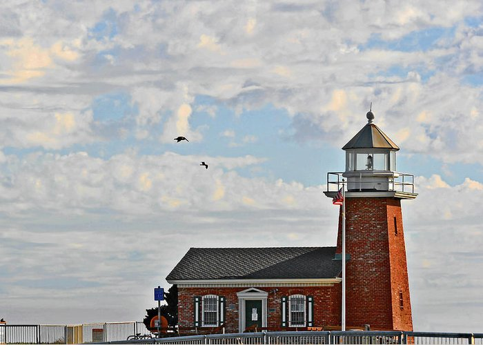 Mark Abbot Memorial Lighthouse Greeting Card featuring the photograph Mark Abbott Memorial Lighthouse - Home Of The Santa Cruz Surfing Museum Ca Usa by Christine Till