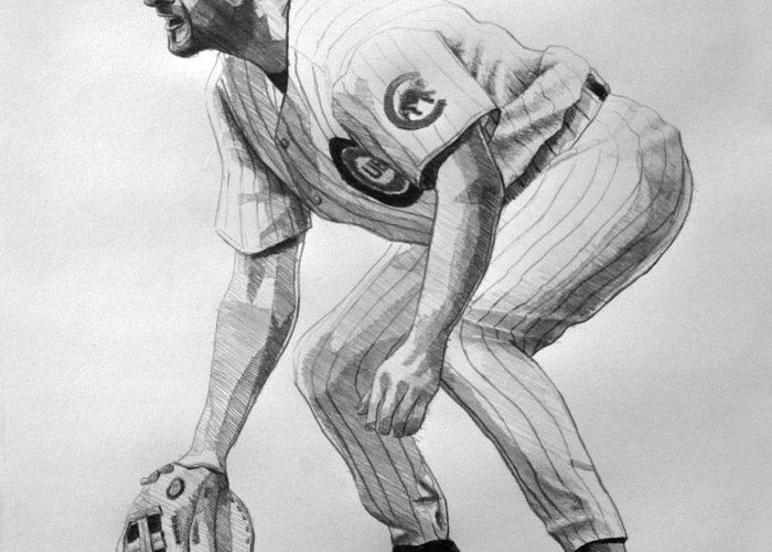 Sports Greeting Card featuring the drawing Mark Grace by Adam Barone
