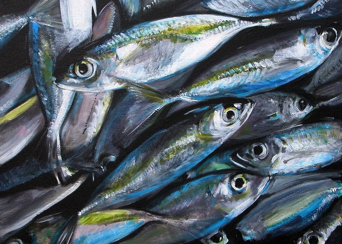Fish Greeting Card featuring the painting Market Day by Fiona Jack