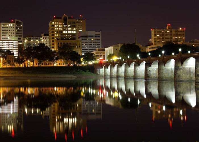 City Greeting Card featuring the photograph Market Street Bridge Reflections by Shelley Neff