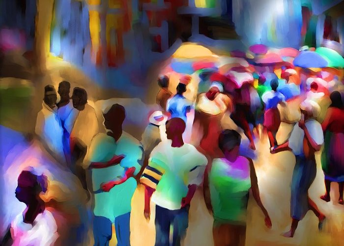 Haiti Greeting Card featuring the painting Marketplace At Night Cap Haitien by Bob Salo