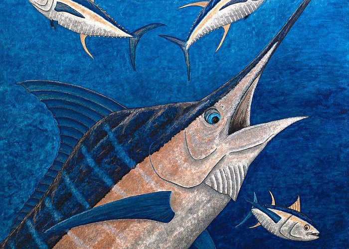 Marlin Greeting Card featuring the painting Marlin And Ahi by Carol Lynne