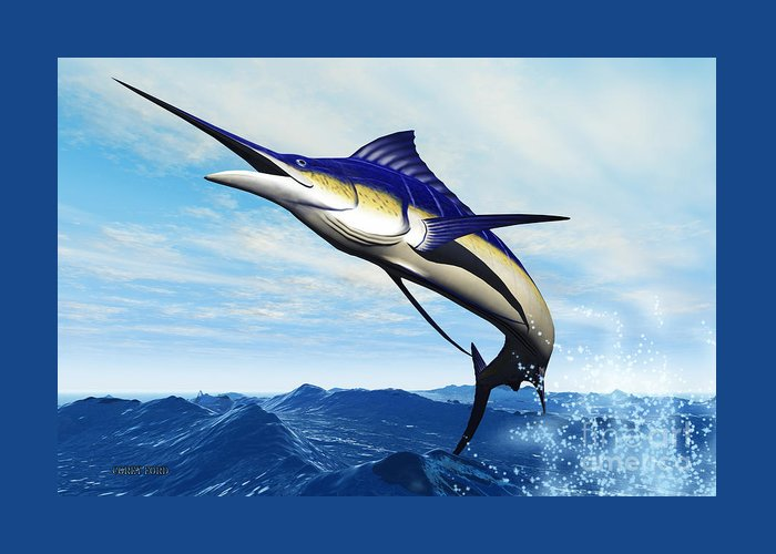 Marlin Greeting Card featuring the painting Marlin Jump by Corey Ford