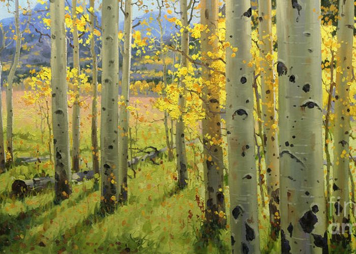 Aspen Trees Birch Trees Gary Kim Oil Print Art Print Woods Fall Trees Autumn Season Panorama Sunset Beautiful Beauty Yellow Red Orange Fall Leaves Foliage Autumn Leaf Color Mountain Oil Painting Original Art Horizontal Landscape National Park America Morning Nature Wallpaper Outdoor Panoramic Peaceful Scenic Sky Sun Time Travel Vacation View Season Bright Autumn National Park South America Clouds Cloudy Landscape Mist Misty Natural Peak Peaks New Painting Oil Original Vibrant Texture Reflections Greeting Card featuring the painting Maroon Creek by Gary Kim