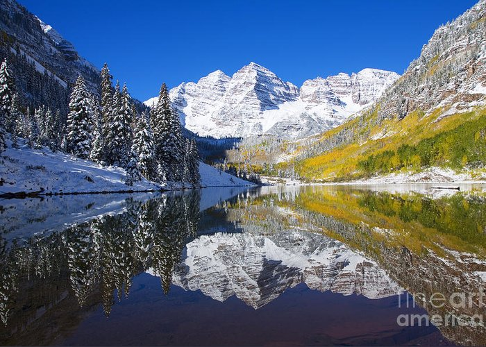 Aspen Greeting Card featuring the photograph Maroon Lake And Bells 1 by Ron Dahlquist - Printscapes