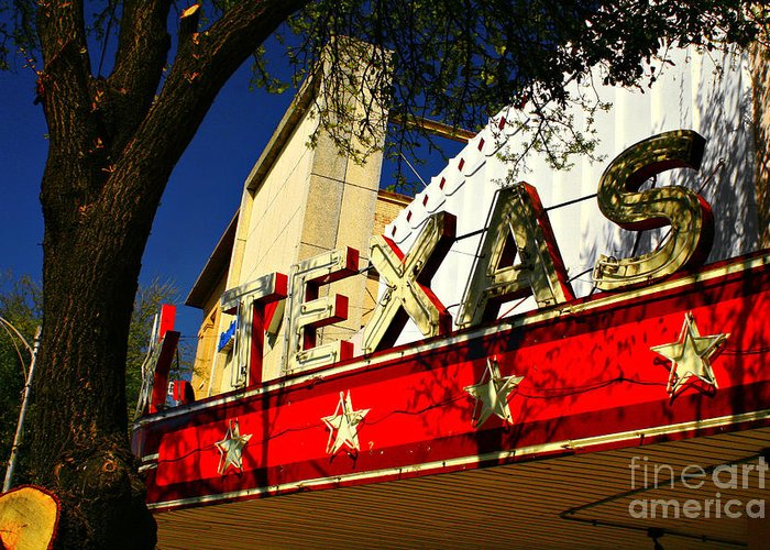 Picture Show Greeting Card featuring the photograph Marquee Texas by David Carter